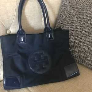 Tory Burch Ella Patent Mini Tote Bag - Navy